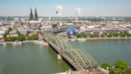 4K Time-lapse: Aerial Cologne Cathedral and Hohenzollern Bridge Germany video