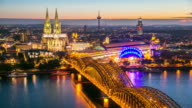4K Time-lapse: Aerial Cologne Cathedral Hohenzollern Bridge at dusk Germany video