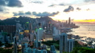 HD Time-lapse: Aerial Hong Kong Skyline Cityscape at dusk video