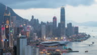Time-lapse: Aerial Hong Kong Skyline Cityscape at dusk video