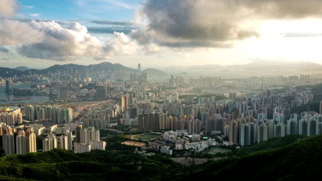 HD Time-lapse: Aerial Hong Kong Skyline Kowloon Cityscape Sunset video