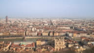 Time-lapse: Aerial Lyon Cityscape Rhone River Notre Dame Fourviere video