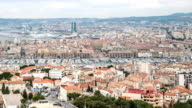 HD Time-lapse: Aerial Marseille city with old Vieux Port video