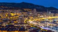 Time-lapse: Aerial Monaco Monte Carlo harbour french riviera night video