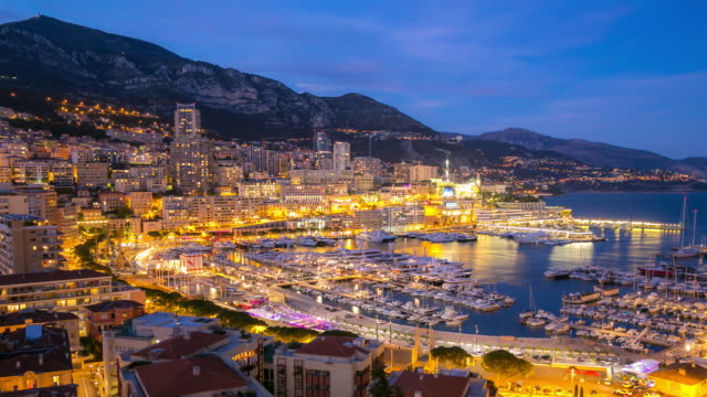 Time-lapse: Aerial Monaco Monte Carlo harbour french riviera night video