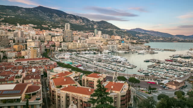 Time-lapse: Aerial Monaco Monte Carlo harbour french riviera sunset video