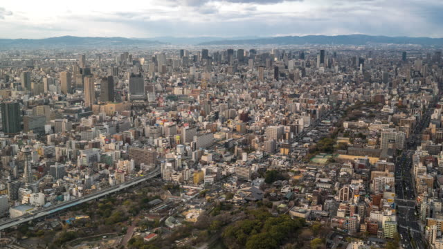 4K Time-lapse: Aerial Osaka Cityscape from Tennoji in action video