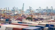 4K time-lapse: aerial shot warehouse Port background in Singapore video