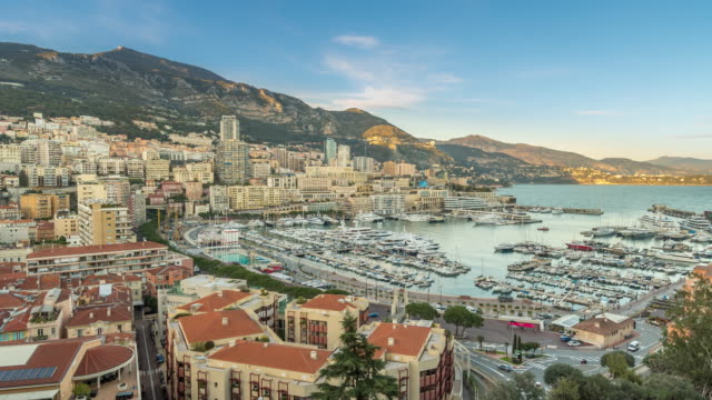 Time-lapse: Aerial View Monaco Monte Carlo harbour french riviera video