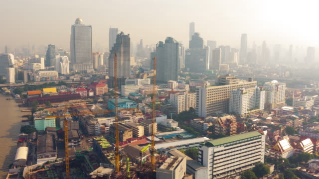 4K - Time-lapse : Aerial view of Bangkok city in the morning, Thailand video