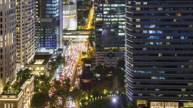 Time-lapse: Aerial view of  Cityscape at night. video