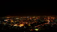 Time-lapse: Aerial View of Small Town at Night video