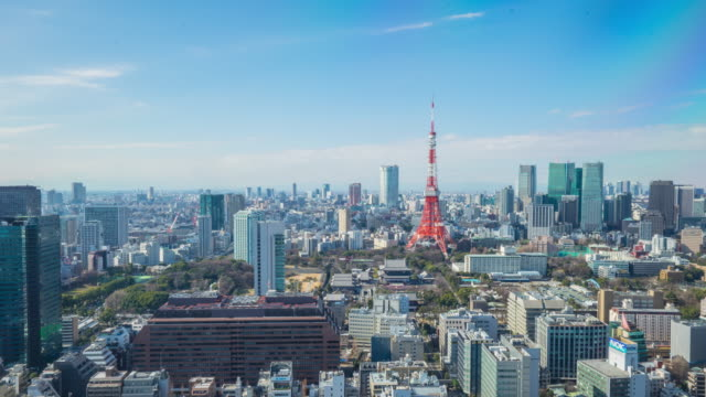 4K Time-lapse: Aerial view Tokyo cityscape Japan (panning camera) video