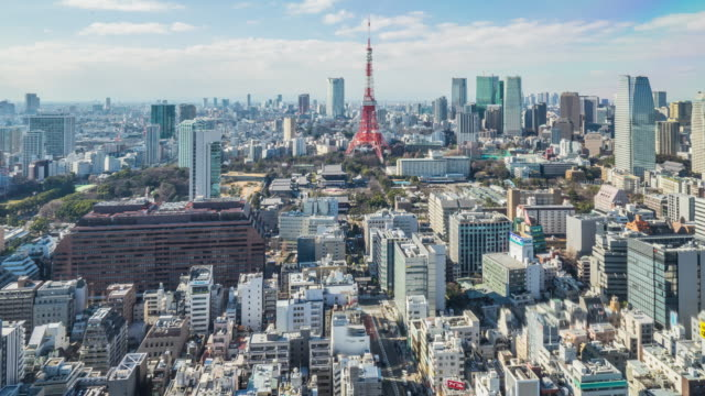 4K Time-lapse: Aerial view Tokyo cityscape Japan (zoom in camera) video