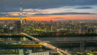 Time-lapse: aerial view Tokyo Skytree Japan sunset video