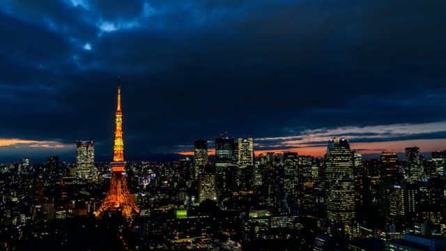 HD Time-lapse: Aerial view Tokyo tower Japan - Stock Video video