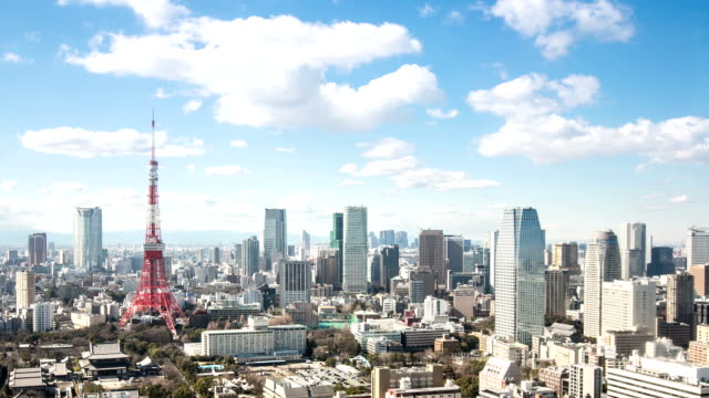 HD Time-lapse: Aerial view Tokyo tower Japan video