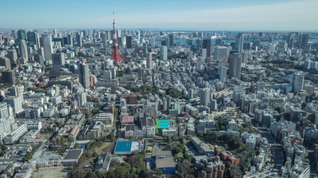 4K Time-lapse: Aerial view Tokyo tower Japan video