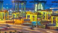 4K time-lapse: aerial warehouse Port background in Singapore at dusk video