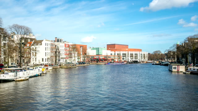 HD Time-lapse: Amsterdam Amstel River Opera and Cityhall Netherlands video