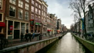 HD Time-lapse: Amsterdam Canal Red Light District, Netherland video