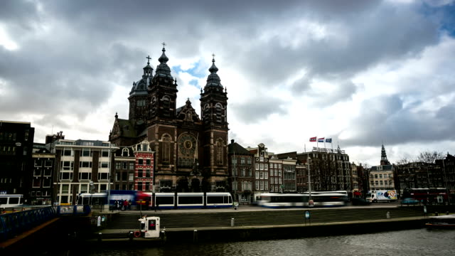 HD time-lapse: Amsterdam Canal with Church of Saint Nicholas video