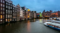 time-lapse: Amsterdam Canal with Church of Saint Nicholas video