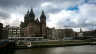 4K time-lapse: Amsterdam Canal with Church of Saint Nicholas video