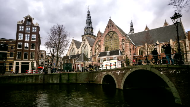 HD time-lapse: Amsterdam Canal with Old Church Netherlands video