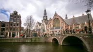 time-lapse: Amsterdam Canal with Old Church Netherlands video