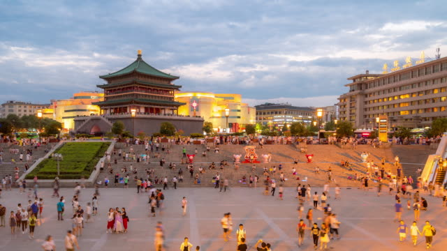 Time-lapse: ancient Xian bell tower Chonglou China sunset video