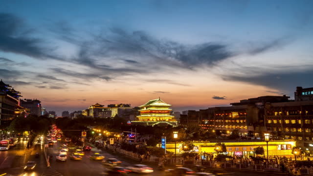Time-lapse: ancient Xian drum tower Guluo China sunset video