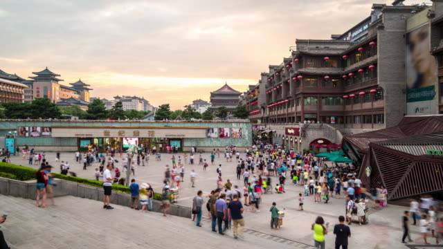 Time-lapse: ancient Xian drum tower Guluo China video