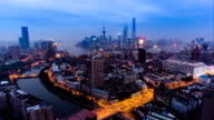 Timelapse and aerial view of the skyline of Shanghai, China video