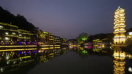 Timelapse and night view of Fenghuang scenic spot, China. video