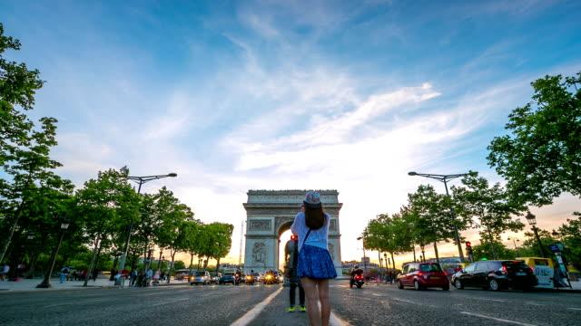 HD Timelapse: Arc of Triomphe Champs Elysees Paris city, France video