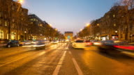 4K Timelapse: Arc of Triomphe Champs Elysees Paris city, France video
