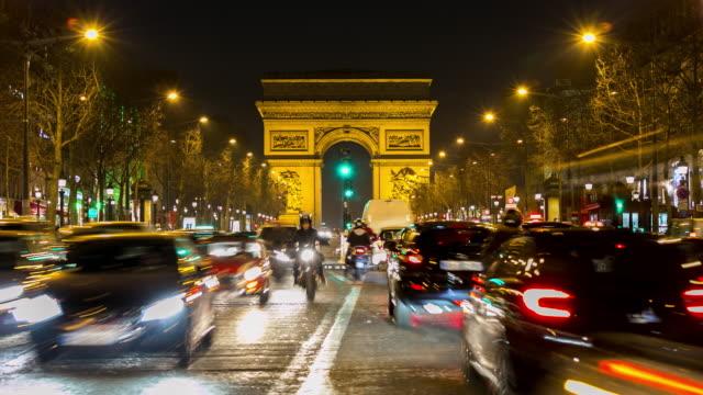 4K Timelapse: Arc of Triomphe Champs Elysees Paris city, France video