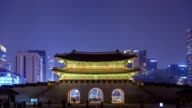 Timelapse at Gwanghwamun Gate by night, Seoul, South Korea, 4K Time lapse video