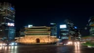 Timelapse at Gwanghwamun Gate by night, Seoul, South Korea, HD Time lapse video