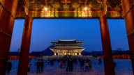 Timelapse at Gyeongbokgung Palace by night, Seoul, South Korea, 4K Time lapse video