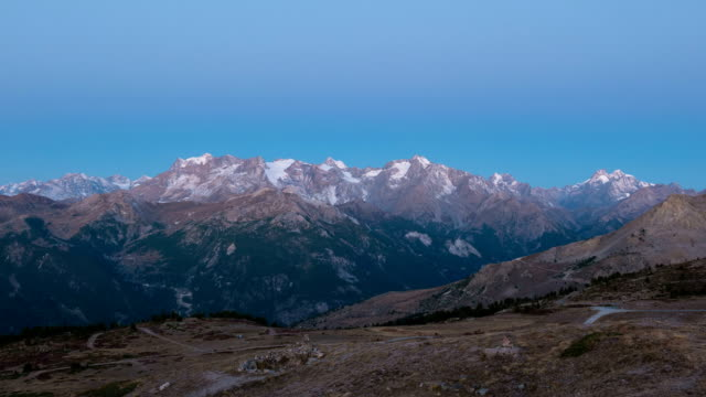 Timelapse at sunrise, Massif des Ecrins, the Alps video