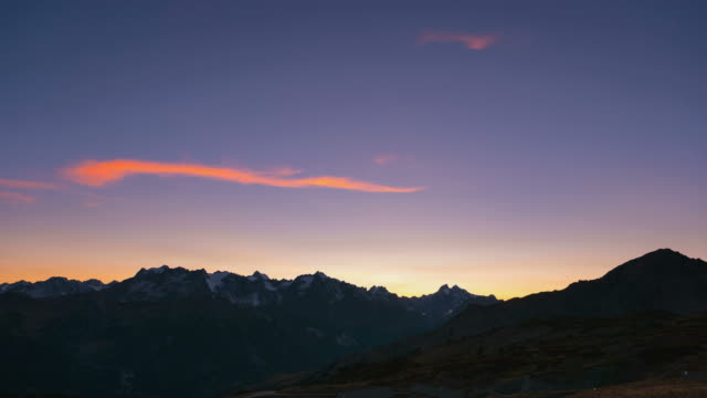 Timelapse at sunset, Massif des Ecrins, the Alps video
