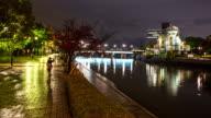 4K Time-lapse: Atomic Dome ruins along Otogawa River Hiroshima downtown video