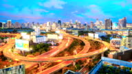 HD Time-lapse: Bangkok Downtown Skyline and highway zoom out video
