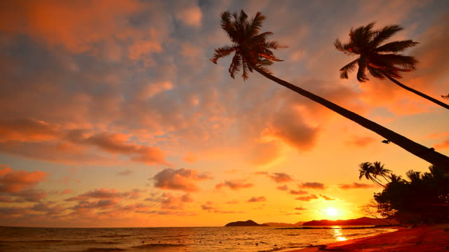 Time-Lapse: Beach at Sunset on Tropical Island video