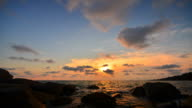 Time-Lapse: Beach at Sunset with Beautiful Cloudscape video