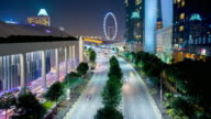 4K TimeLapse:  Beautiful traffic light on express road  in the downtown of Singapore City video