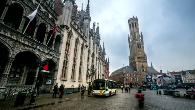 HD time-lapse: Bell Tower Belfort at Market square Bruges Belgium video