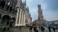 4K time-lapse: Bell Tower Belfort at Market square Bruges Belgium video